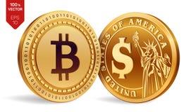 Bitcoin Dólar moedas 3D físicas isométricas Moeda de Digitas Cryptocurrency Moedas douradas com isolat do símbolo de Bitcoin e de Imagens de Stock Royalty Free