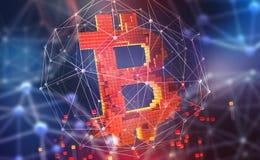Bitcoin 3D例证 开采的cryptocurrency的未来派概念 在网际空间的金钱 皇族释放例证