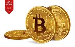 Bitcoin 3D等量物理位硬币 数字式货币 Cryptocurrency 与bitcoin标志的三枚金黄硬币 免版税库存图片