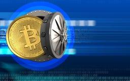 bitcoin 3d över cyber royaltyfri illustrationer