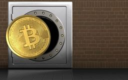 bitcoin 3d över tegelstenar Royaltyfri Bild