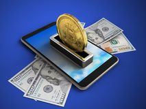 bitcoin 3d ilustração do vetor