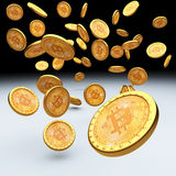 Bitcoin 3d achtergrond Stock Foto's