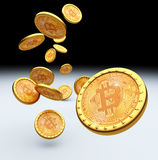 Bitcoin 3d achtergrond Royalty-vrije Stock Afbeelding