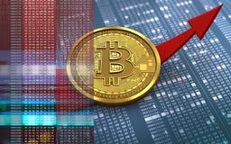 bitcoin 3d acima da seta Imagem de Stock Royalty Free