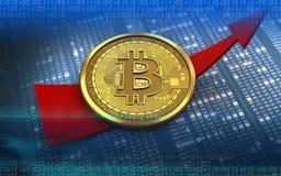 bitcoin 3d acima da seta Imagem de Stock