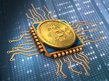bitcoin 3d avec de l'or d'unité centrale de traitement Images libres de droits