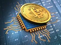 bitcoin 3d avec de l'or d'unité centrale de traitement Photos libres de droits