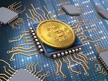 bitcoin 3d avec des processeurs Photos stock