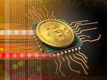 bitcoin 3d avec l'orange d'unité centrale de traitement Photographie stock