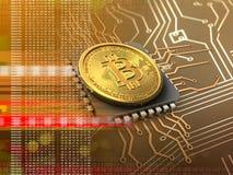 bitcoin 3d avec l'orange d'unité centrale de traitement Images libres de droits