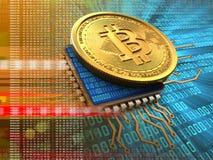 bitcoin 3d avec l'orange d'unité centrale de traitement Illustration de Vecteur