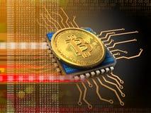 bitcoin 3d avec l'orange d'unité centrale de traitement Illustration Libre de Droits