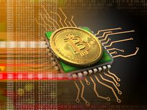bitcoin 3d avec l'orange d'unité centrale de traitement Image stock