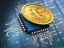 bitcoin 3d avec l'unité centrale de traitement Photos stock