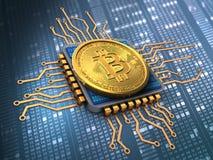 bitcoin 3d avec l'unité centrale de traitement Photo libre de droits