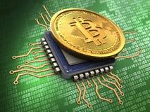 bitcoin 3d avec l'unité centrale de traitement Photos libres de droits