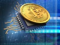 bitcoin 3d avec le bleu d'unité centrale de traitement Photographie stock libre de droits