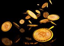 Bitcoin 3d bakgrund Royaltyfri Fotografi