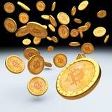 Bitcoin 3d bakgrund Arkivfoton