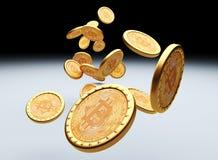 Bitcoin 3d bakgrund Royaltyfri Foto