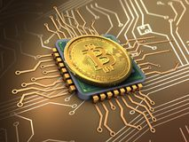 bitcoin 3d с C.P.U. Стоковые Фото