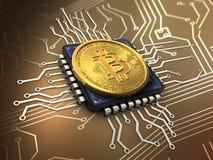 bitcoin 3d с C.P.U. Стоковое Изображение RF