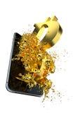 Bitcoin d'or Chemin inclus Perfectionnez pour Images stock