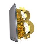 Bitcoin d'or Chemin inclus Perfectionnez pour Photos stock