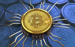 bitcoin 3d Chipschema Lizenzfreie Stockfotografie