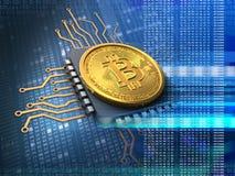 bitcoin 3d com azul do processador central Imagens de Stock Royalty Free