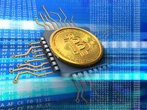 bitcoin 3d com azul do processador central Fotos de Stock Royalty Free