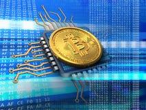 bitcoin 3d com azul do processador central Fotografia de Stock