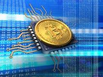 bitcoin 3d com azul do processador central Imagem de Stock Royalty Free