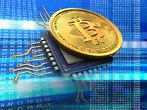bitcoin 3d com azul do processador central Fotos de Stock