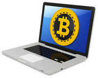 bitcoin 3d com laptop Imagem de Stock Royalty Free