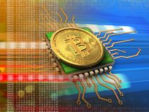bitcoin 3d com laranja do processador central Imagens de Stock Royalty Free