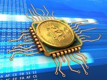 bitcoin 3d com ouro do processador central Imagem de Stock Royalty Free