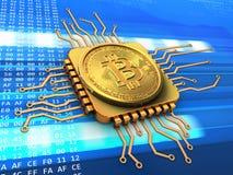 bitcoin 3d com ouro do processador central Fotos de Stock