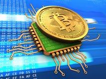 bitcoin 3d com ouro do processador central Imagens de Stock Royalty Free