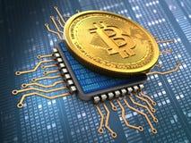 bitcoin 3d com processador central Imagens de Stock Royalty Free