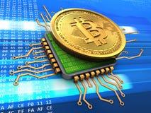 bitcoin 3d com processador central Fotos de Stock Royalty Free