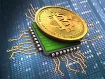 bitcoin 3d com processador central Imagem de Stock