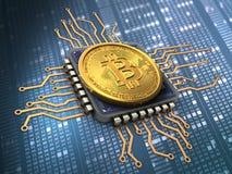 bitcoin 3d com processador central Imagens de Stock