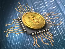 bitcoin 3d com processador central Fotografia de Stock