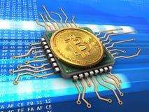 bitcoin 3d com processador central ilustração royalty free