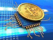 bitcoin 3d com processador central Foto de Stock Royalty Free