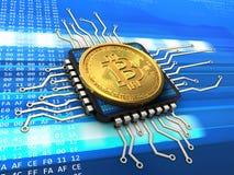 bitcoin 3d com processador central Foto de Stock