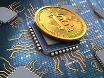 bitcoin 3d com processadores Imagem de Stock