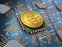 bitcoin 3d com processadores Foto de Stock Royalty Free